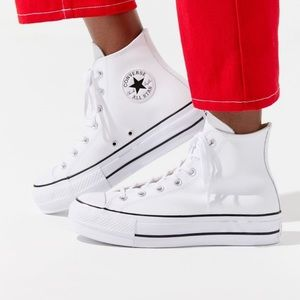 White Leather high top platform converse